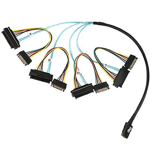 J&D Internal Mini SAS to 4X Internal SAS Cable, Mini SFF 8087 to 4X SFF 8482 Cable - 3 (U320 Scsi Drive)