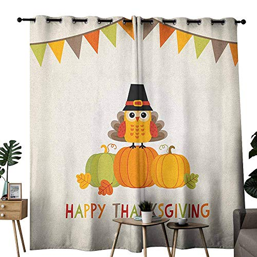 (duommhome Turkey Decorative Curtains for Living Room Little Bird Sitting on Pumpkins with Pilgrims Hat Festive Autumn Holiday Design Noise Reducing W72 x L108 Multicolor)