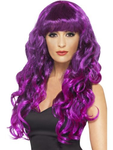 Womens Long Curly Fringe Green Purple Glamour Gothic Sea ...