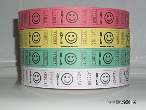 Light Assortment of High Quality Indiana Ticket Company Smile Tickets / Green White Yellow Pink 2000 Tickets Per Roll