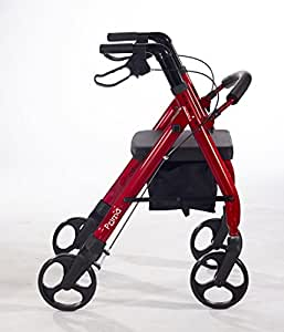 Comodità Prima Heavy-Duty Rolling Walker Rollator with Comfortable 15-Inch Wide Nylon Seat (Metallic Red)