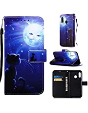 DYGG Compatibel met Case Samsung Galaxy A20e /A10e Case Cover PU Lederen Flip Magneet Portemonnee Stand Card Slots Hand Strap - Maan en kat
