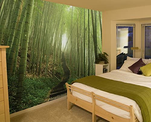 JP London SQM2405PS uStrip Peel and Stick Removable Wall Decal Sticker Mural Bamboo Forest Path Zen Trees At 6 High By 6 Wide JP London Design