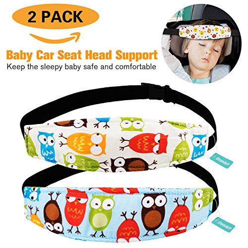 Seat Neck Relief and Head Support, Pillow Support Head Band Easy Installation On Most Convertible Seats and Safety to Babies and Kids(Owls) (Car Seat Head Support)