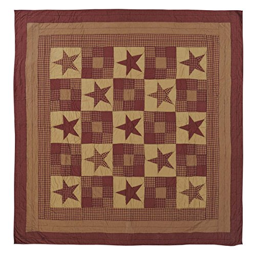 VHC Brands Classic Country Primitive Bedding - Ninepatch Star Red Quilt, Luxury King (Star Luxury Quilt King)