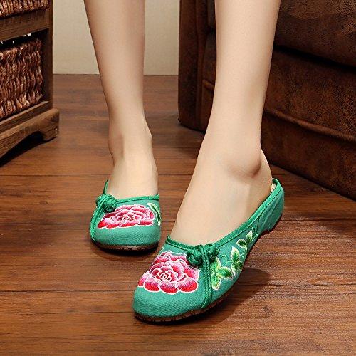 WHH Zapatos bordados, lenguado de tendón, estilo étnico, flip flop femenino, moda, cómodo, sandalias Green