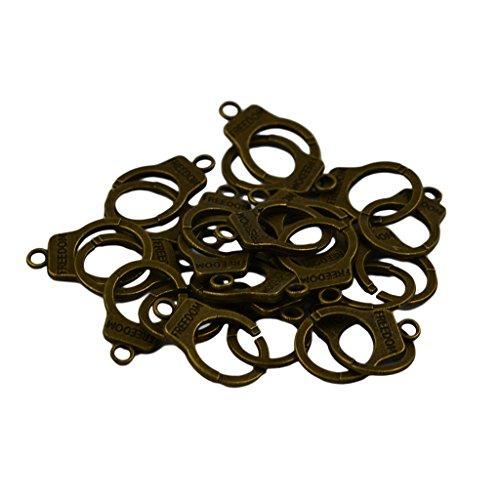 MonkeyJack 12Pcs Bronze Punk Mini Handcuff Keyring Clasp Keychain Freedom Charm Pendant