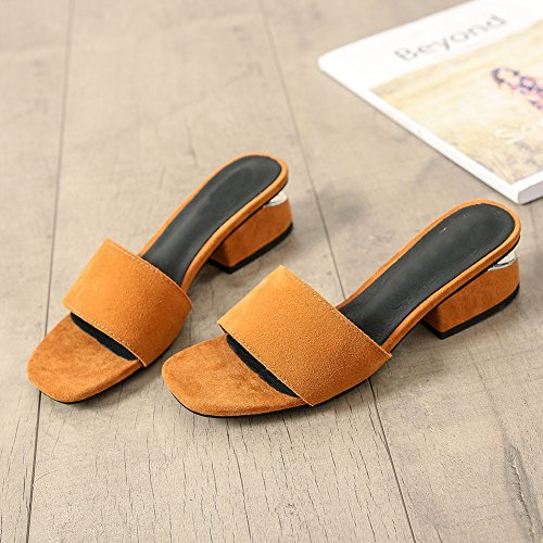 Leather Open for Toe Suede Kitten Heel Shoes Pumps Shoes Lady Yellow LIHUAMAO Fashion Slip Mule Slide on Women Sandals ZwaxvSHq