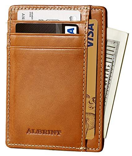 ALBRINT Rfid Minimalist Leather Wallets for Men and Women Front Pocket Wallets Slim Card Holder (Classic Orange E02)