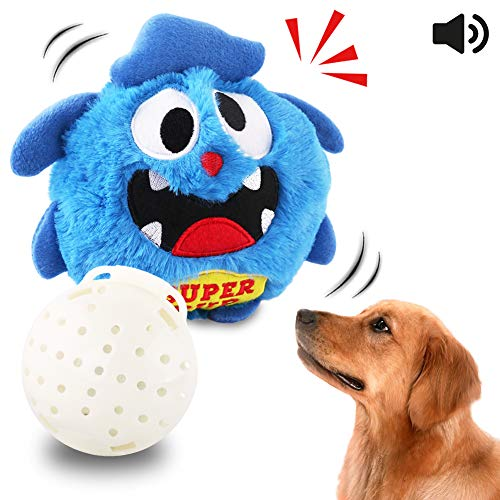 Petbobi Upgrade Dog Toys Interactive Monster Plush Giggle Ball Shake Squeak Crazy Bouncer Toys Exercise Electronic Toy for Puppy Motorized Entertainment for Pets