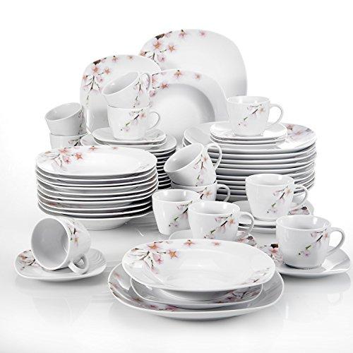 China Dinnerware Set (VEWEET 60-Piece Porcelain Dinnerware Sets Flower Patterns Plates Saucers Mugs, Service for 12 (ANNIE Series))