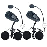 Helmet Intercom Communication Bluetooth Motorcycle Motorbike Interphone Headsets - HandleBar Remote FM Radio NFC 1200M - 5 Riders Full Duplex Bluetooth Handsfree Intercom Speaker (2 Units)