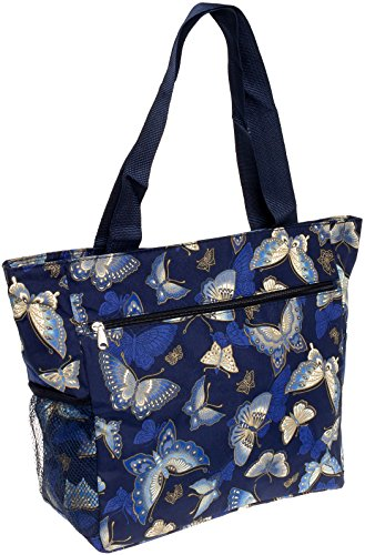 Women's Beach Shopper Tote Bag (Blue Butterfly) ()