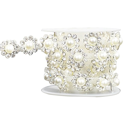 SHINYTIME Rhinestone Trims 1 Yard Sew-On Floral Shape Plastic Pearl Rhinestone Banding Trim for Clothing Decorations Valentines Ideas for her
