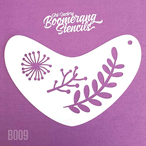 Art Factory Boomerang Stencil - Boho Leaves, Reusable Face Painting Stencil, Great for Fairs, Carnivals, Party & Halloween -