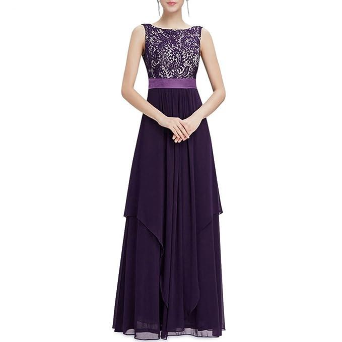 c9b7c0b56263 Lihaer Abito Da Donna Elegante in Pizzo Senza Maniche Abiti Da Cerimonia  Per Feste Vestito Da Sera Sexy Alla Moda  Amazon.it  Abbigliamento