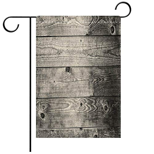(Double Sided Premium Garden Flag Dark Grey Ombre Style Grunge Wooden Planks Rustic Timber Oak Wall Rough Texture Image Decorative Decorative Deck, patio, Porch, Balcony Backyard, Garden or Lawn)