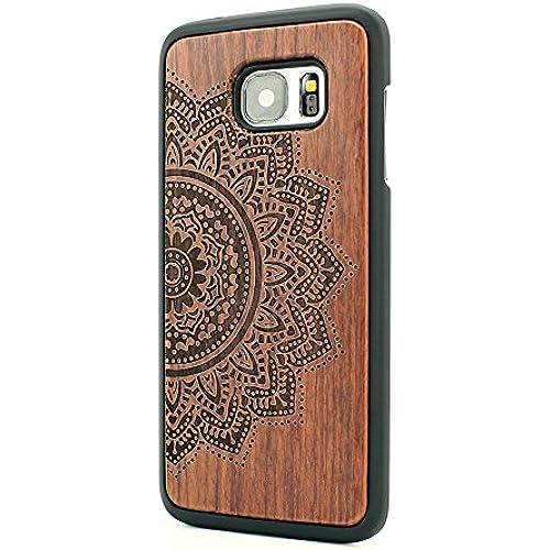 KASOWORKSHOPS Unique Real Handmade Natural Wooden Bamboo Hard Slim Case with Laser Mark for Samsung Galaxy S7 (Big Flower) Sales