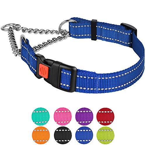 CollarDirect Reflective Martingale Collars for Dogs Training Chain Pet Choke Collar with Buckle Red Pink Mint Green Orange Blue Black Purple (L, Blue)