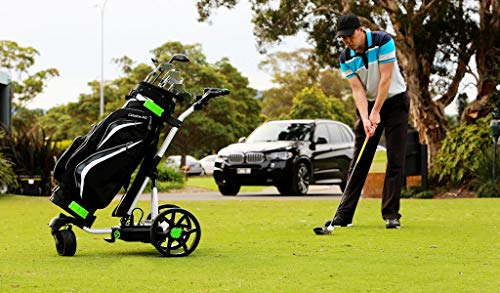 The Alligator 100% Waterproof Electric Remote-Control Golf Caddy, Industry Best 2-Year Warranty Innovative Modern Design, Light Weight, Compact Built to Last 36-Hole Removable Lithium Power Plant.