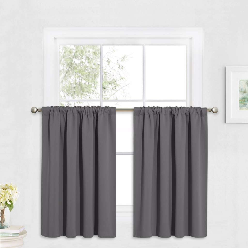RYB HOME Blackout Curtains for Bedroom, Small Window Valances Tiers Curtain Set Light Block Privacy Drapes for Kitchen Kids Nursery Bathroom, W 52 x L 36 per Panel, Grey, 1 Pair