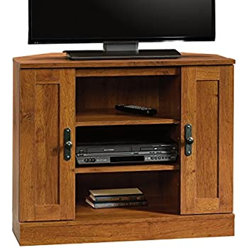 Merveilleux Sauder Harvest Mill Corner Entertainment Stand, Abbey Oak Finish