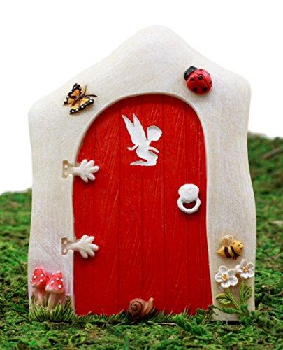 - Ebros Gift Enchanted Fairy Garden Miniature Tinker Bell Magical Pixie Red Door Figurine 4.75