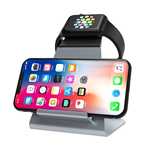 XUNMEJ Apple Watch Stand Apple Watch Charging Dock Stand Bracket Station Holder for Apple Watch Series 3/Series 2/ Series 1 (42mm 38mm) iPhone X 8 8plus 7 7plus 6S 6plus (Gray) (Station Charging Dual)