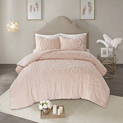 Madison Park Laetitia Comforter Reversible Cotton Chenille Flower Floral Botanical Medallion Tufted Fringe Soft Overfilled Down Alternative Hypoallergenic All Season Bedding-Set, Queen, Blush ()