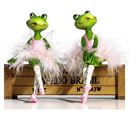 Funoasis Set of Two Ballet Dancers Frog Ornaments Resin Crafts Figurine Statue for Home Decoration (Green-Pink(Sitting))