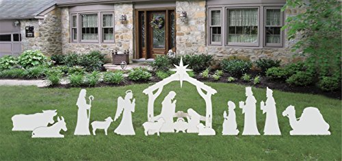 (Front Yard Originals Complete Medium White Outdoor Nativity Scene)