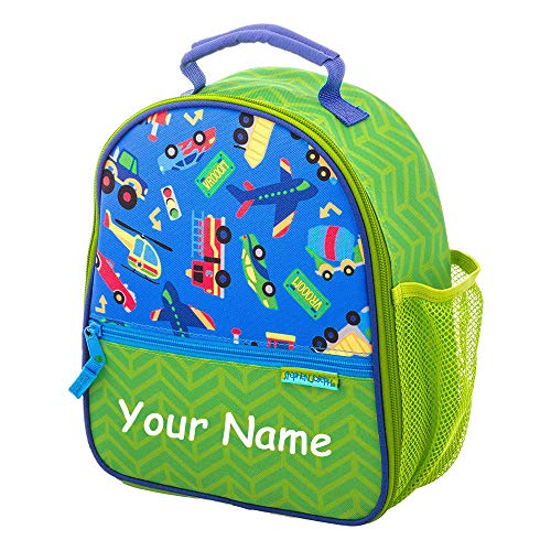 SJ Stephen Joseph Personalized Planes Trains Automobiles Transportation All Over Print Back to School Lunchbox Lunch Bag with Custom ()