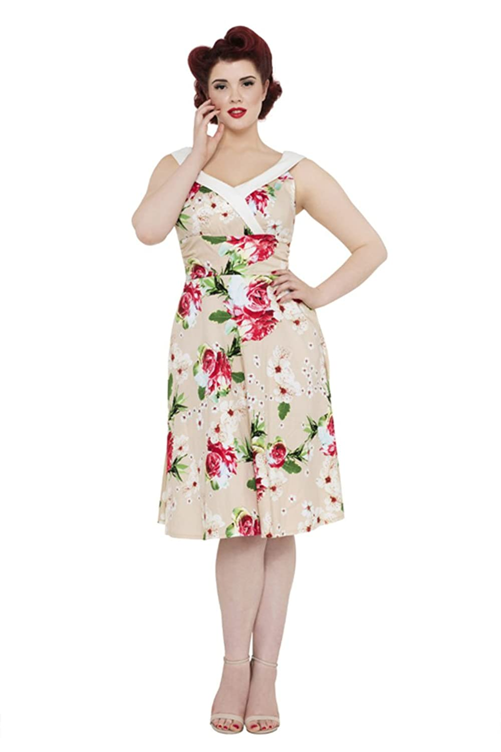 Rockabilly Dresses | Rockabilly Clothing | Viva Las Vegas Voodoo Vixen Taupe Vintage Floral Tropical Dress $66.49 AT vintagedancer.com