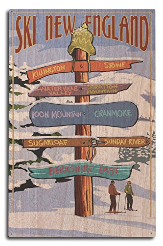 Lantern Press New England - Ski Areas Destinations Sign (10x15 Wood Wall Sign, Wall Decor Ready to Hang) ()