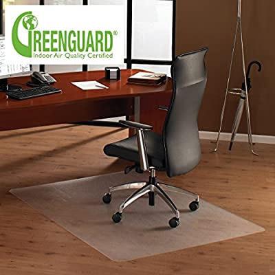 MATDOM Office Chair Mat for Hardwood Floor, Great Clear Vinyl Hard Floor Mat With Smooth Surface, Anti-Slip Thick And Sturdy Desk Floor Protective Mats 36'' x 48''