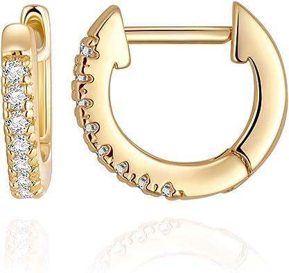 14K Gold CZ Dainty Wide Hoop Earrings For Women Girls Fashion Cubic Zirconia Huggie Square Cut Hypoallergenic