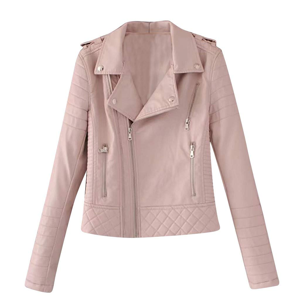 Ultramall Tops Womens Casual Pure Color Color Lapel Zipper Long Sleeve Leather Jacket Coat(Pink,L) by Ultramall