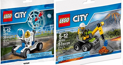 Combo Lego City Volcano Jackhammer Set 30350 Space Utility Vehicle Mini Figure Set LEGO (30315) Rover Polybag Edition Building Set