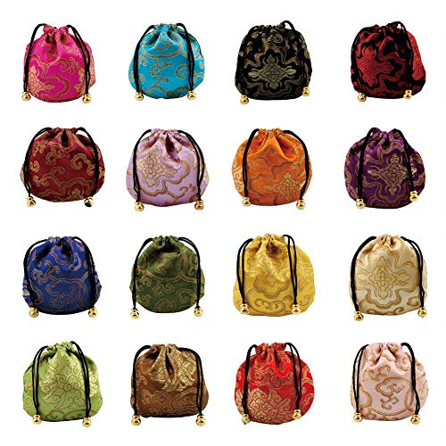 (Lzttyee 30Pcs Silk Brocade Embroidered Drawstring Jewelry Pouch Bag Gift Bags Baskets Drawstring Coin Purse (Random Color))