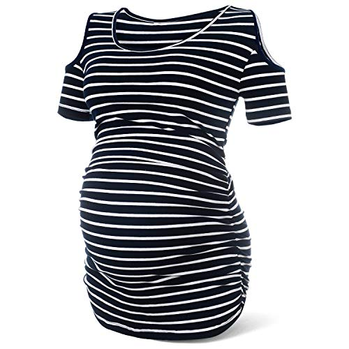 Women Cold Shoulder Maternity Shirt Top Pregnancy T Shirts Mom Clothes,Navy Blue Striped M