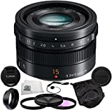 Panasonic LUMIX G Leica DG Summilux 15mm f/1.7 ASPH Micro Four Thirds Lens Mount Wide-Angle Camera Lens (Black) + 5 Piece Essentials Accessory Kit