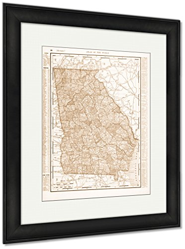 Antique Color Map Of Georgia Ga United States USA, Wall Art Home Decoration, Sepia, 35x30 (frame size), Black Frame, AG6266299 ()