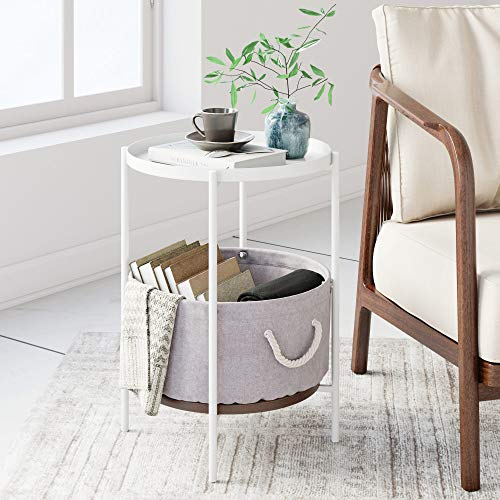 Nathan James 32203 Oraa Nightstand, Bedside, End or Side Table with Storage, White Metal Tray Top with Beige Basket (White End Table Nightstand)