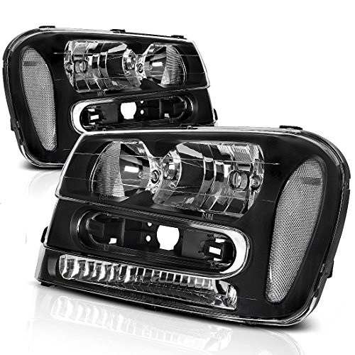 Headlight Assembly for 2002 2003 2004 2005 2006 2007 2008 2009 Chevy Chevrolet Trailblazer Replacement Black Housing Headlamp,One-Year Warranty (W/Full Width Grille, Pair) - Chevy Trailblazer Headlamp Headlight
