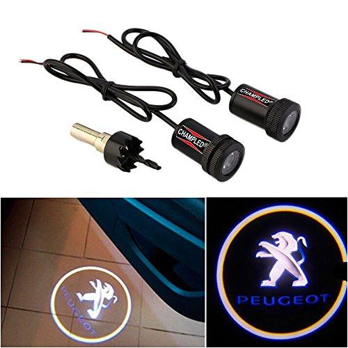 CHAMPLED For PEUGEOT Car Auto Laser Projector Logo Illuminated Emblem Under Door Step courtesy Light Lighting symbol sign badge LED Glow Performance (Peugeot Cars 106)