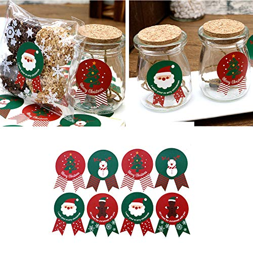 Gotian 96Pcs Christmas Label Stickers Paper Baking Cookie Candy Package -