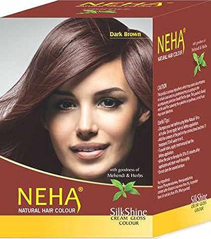Neha (naturales vegetal color del pelo con Henna & hierbas – Color Marrón Oscuro (Caja: 10 x L650D-15G=150g) | Silk brillo de color crema Gloss ...