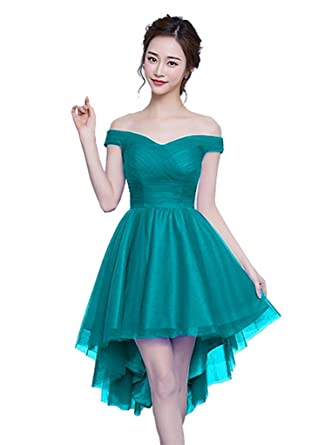YORFORMALS Shoulder High Low Tulle Homecoming Prom Dress at Amazon ...