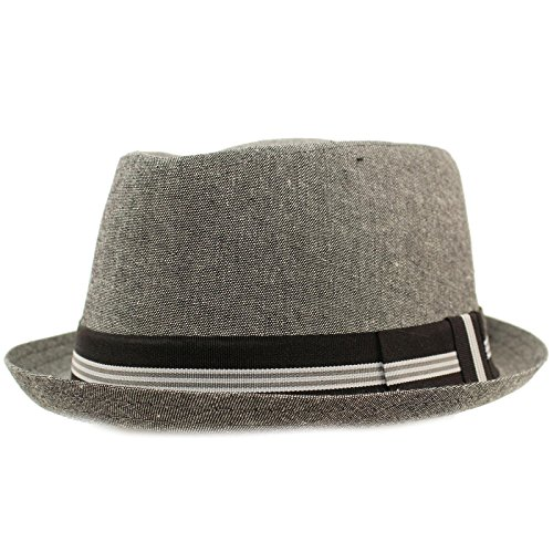 SK Hat shop Men's Linen Cotton Light Tweed Porkpie Derby Fedora Musician Jazz Hat L/XL (Casual Business Hat)