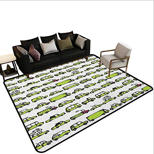 (Children's Toy Carpet Cars,A Number of Cars with Various Jobs Trucks Sedans Buses Traveling Journey Working, Apple Green)